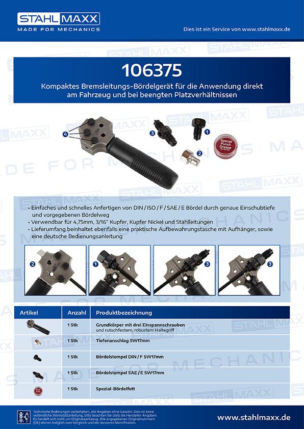 Bremsleitungs-Bördelgerät bei beengten Platzverhältnissen