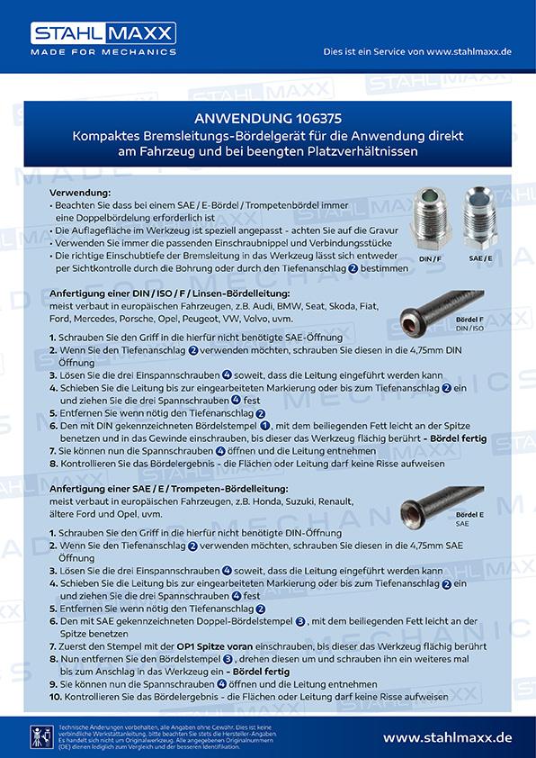 Anwendung Bremsleitungs-Bördelgerät bei beengten Platzverhältnissen