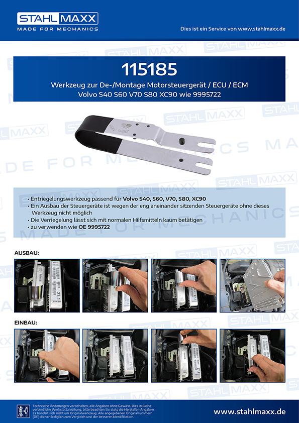 Werkzeug zur De-/ Montage Motorsteuergerät / ECU / ECM Volvo S40 S60 V70 S80 Xc90 wie 9995722