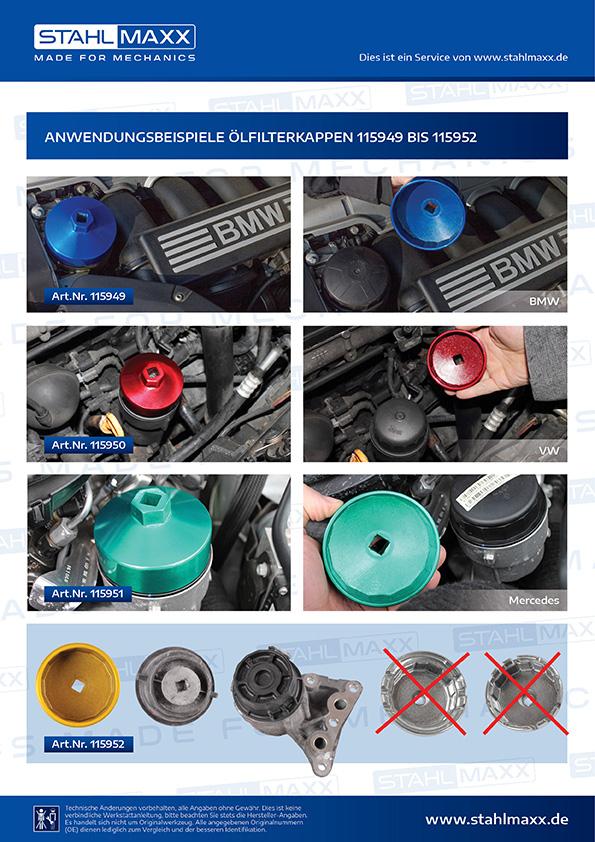 Anwendung Ölfilterkappen bei BMW, VW, Mercedes